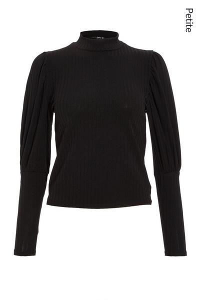 Petite Black Ribbed Puff Sleeve Top
